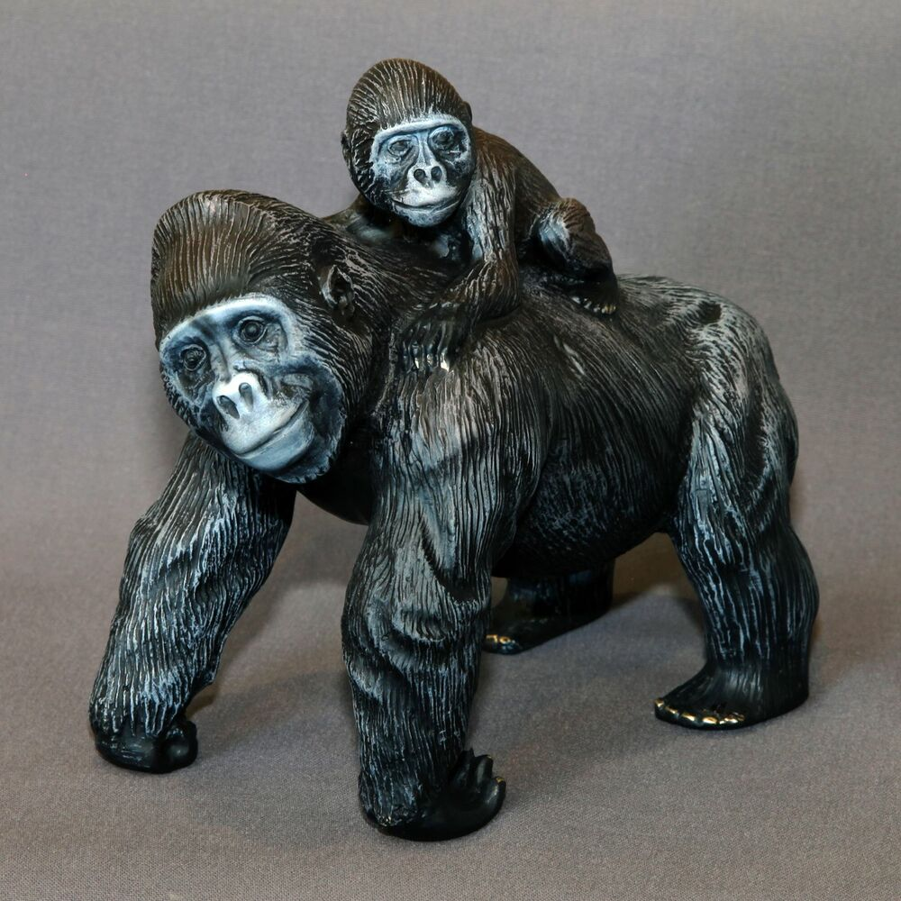 Mama baby gorilla bronze sculpture king kong figurine statue signed numbered ebay - Gorilla figurines ...