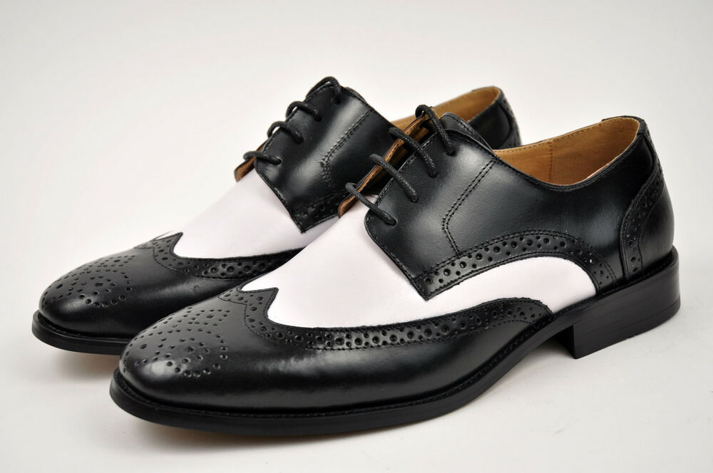 la s black white genuine leather dress shoes