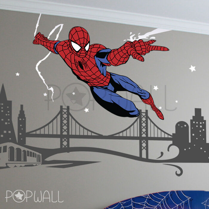 spiderman wall decal superhero ny cityscape avengers wall sticker for kids room ebay. Black Bedroom Furniture Sets. Home Design Ideas