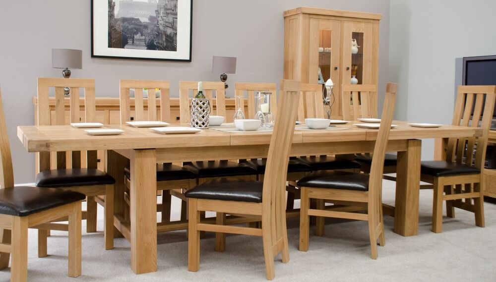 Alaska Large Grand Extending Dining Table 12 Chairs Set