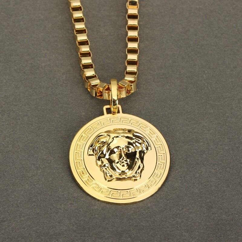 New Gold Plated Medusa Head Vintage Style Pendant Necklace