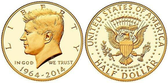 58e85794c Details about 2014-W 50th Anniversary Kennedy Half Dollar Gold Proof Coin  K15 JFK 24K US Mint