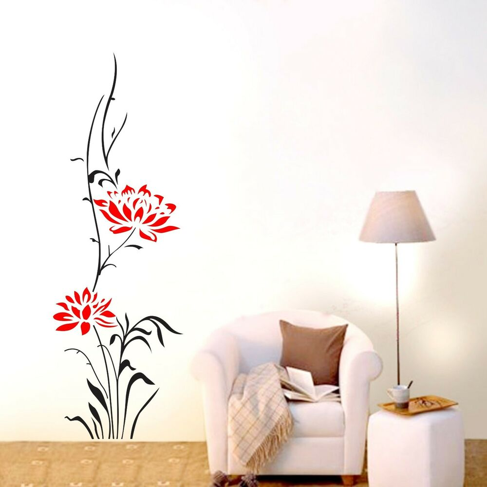 Large lotus flower wall stickers removable decals home for Big wall decor