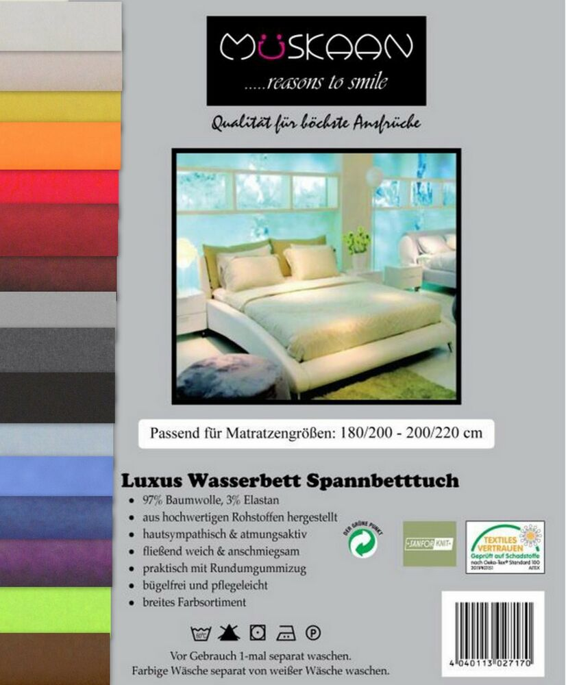 luxus wasserbett spannbettlaken spannbetttuch 180 200 x 200 220cm versch farben ebay. Black Bedroom Furniture Sets. Home Design Ideas