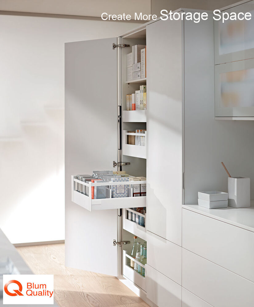 blum space tower kit 5 x blum drawers in silk white 500mm depth ebay. Black Bedroom Furniture Sets. Home Design Ideas