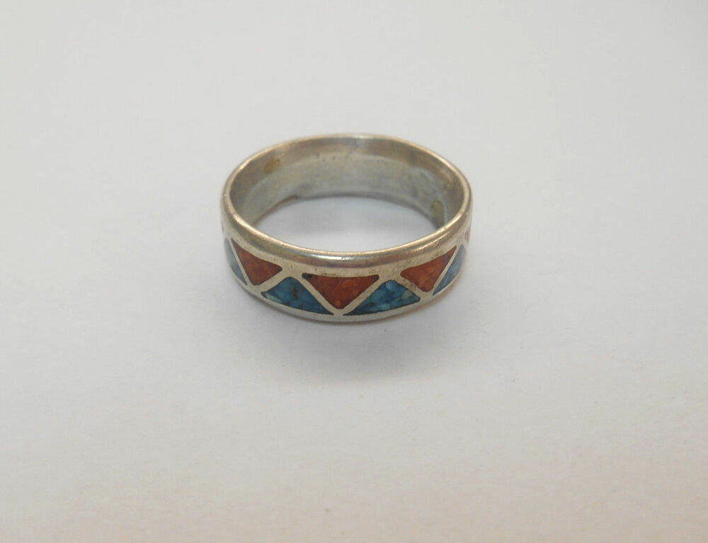 Sterling Silver Turquoise Coral Chip Inlay Stone Surround Ring