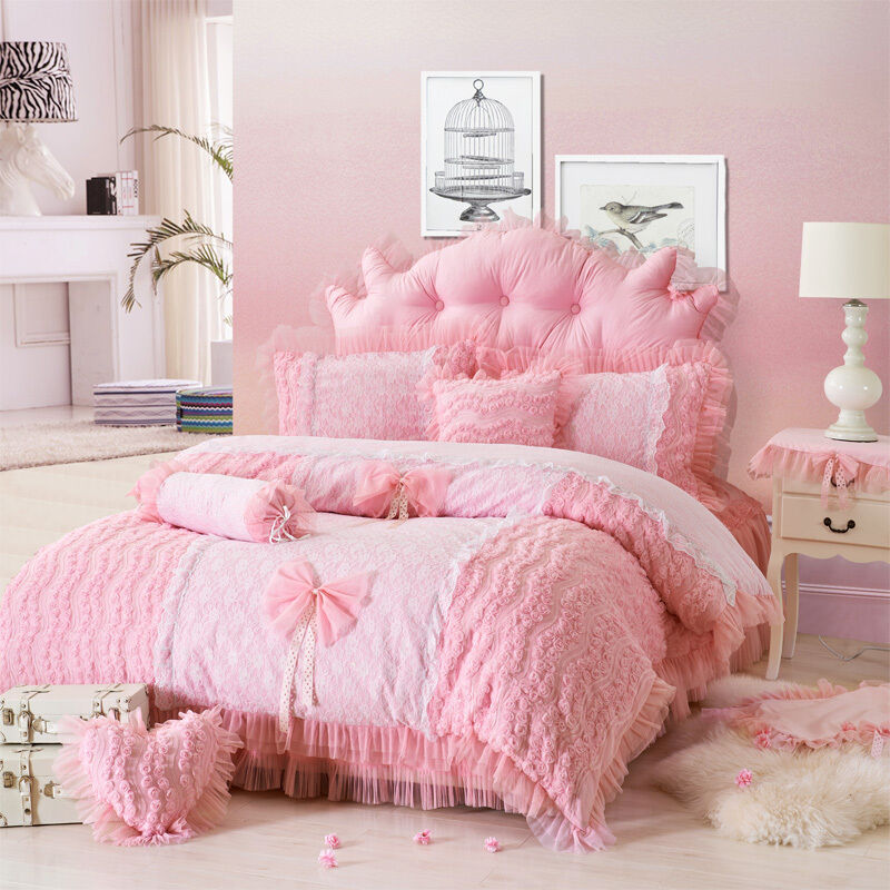 Attractive pink girls rose flowers ruffle lace bedding sets ebay