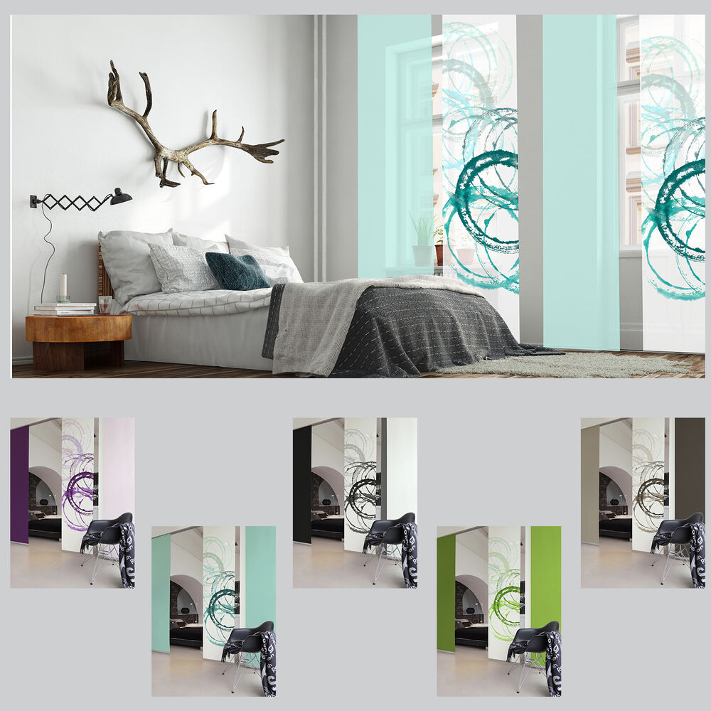 aquarell kreise schiebevorhang fl chenvorhang schiebegardine raumteiler paneele ebay. Black Bedroom Furniture Sets. Home Design Ideas