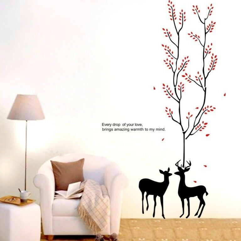 Large deer tree wall art removable sticker vinyl decal for Diy tree wall mural