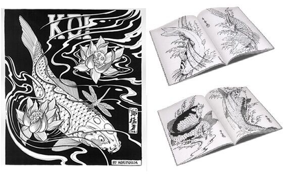 japanese koi tattoo designs by horimouja outline stencil great book ebay. Black Bedroom Furniture Sets. Home Design Ideas