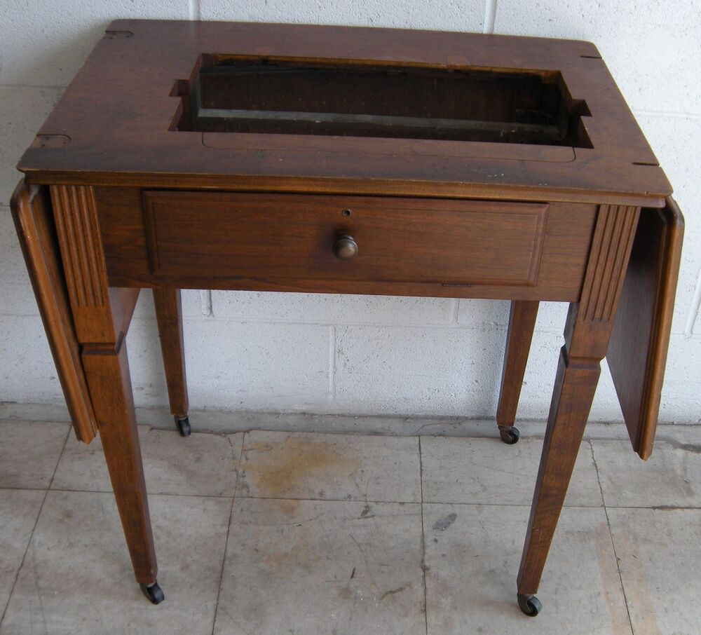 "VINTAGE FOLDING SEWING MACHINE TABLE 28"" T x 18 W x 53"" L ..."