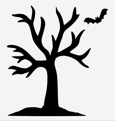 Stencil halloween tree bat spooky crafts make signs for Spooky letter stencils