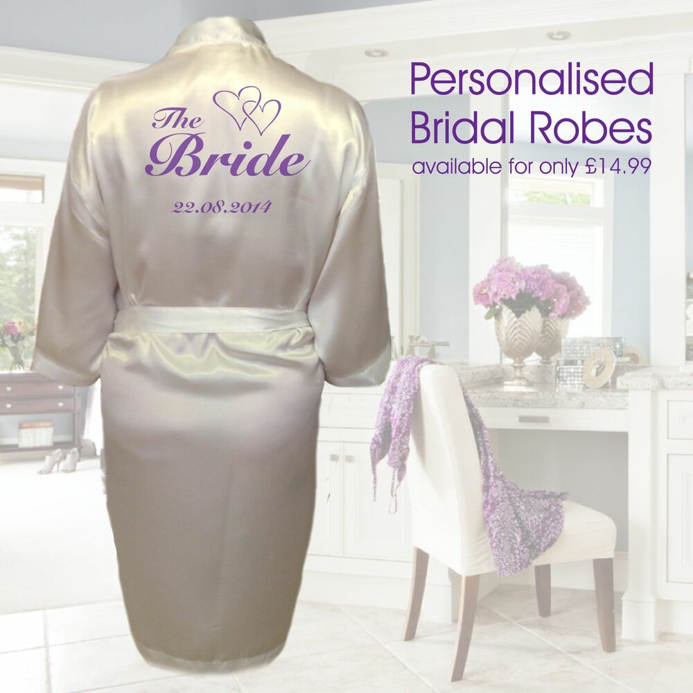 Personalised Heart Wedding Robe & Dressing Gown