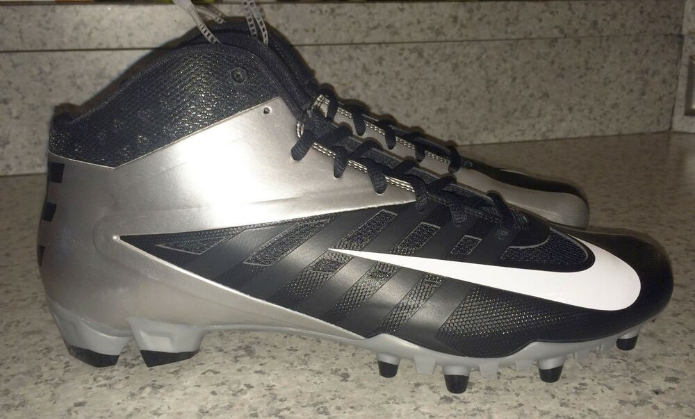timeless design d3299 884c1 Details about NIKE Vapor Pro TD 3 4 Mid Molded Football Cleats Black Metall Silver  Mens 9.5 12