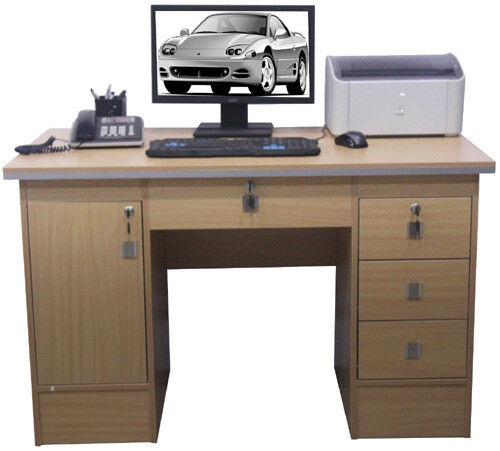 Computer Desk Pc Table Home Office Furniture In Beech Color With 3 Locks Ebay
