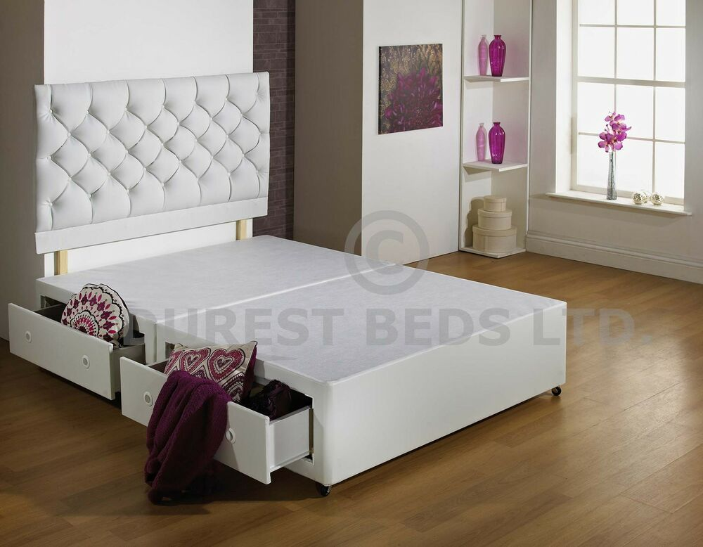 New white 3ft 4ft6 5ft 6ft size luxury divan bed base for 4ft 6 divan bed