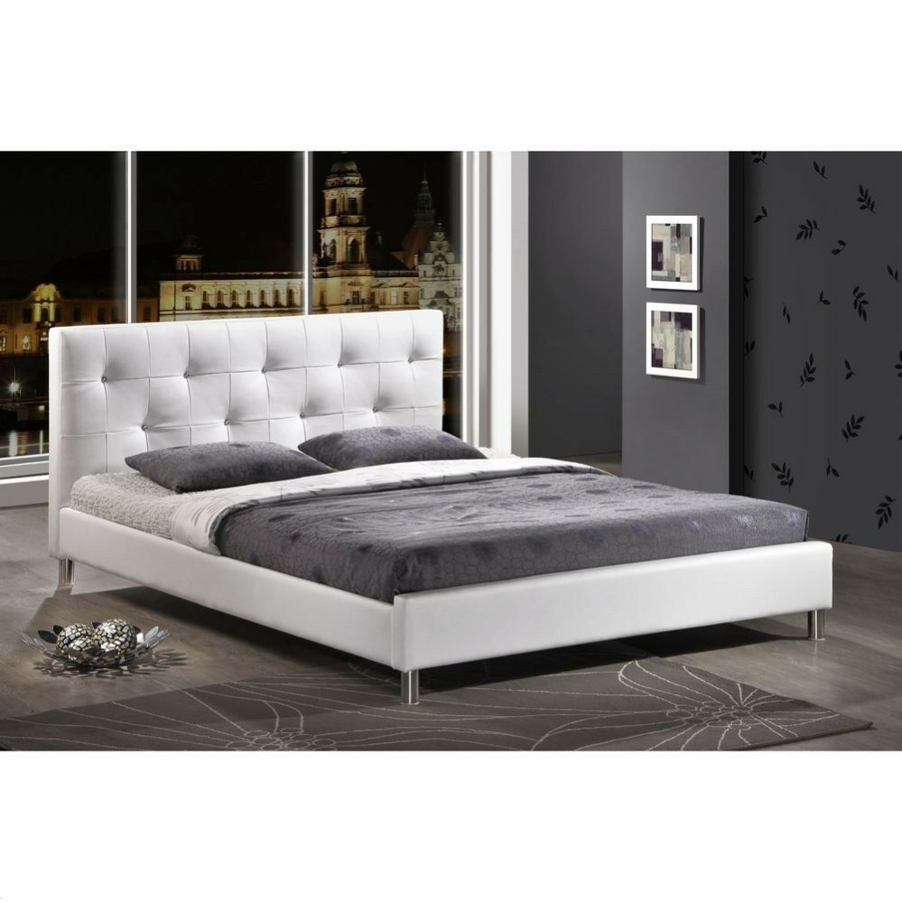 Modern Queen Tufted Faux Leather Platform Bed Frame