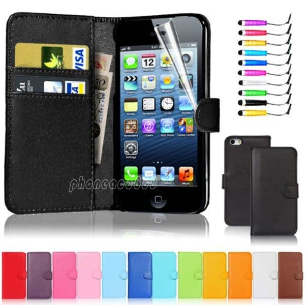 New Flip Wallet Leather Case Cover For Apple iPhone 5 5S Free Screen ...