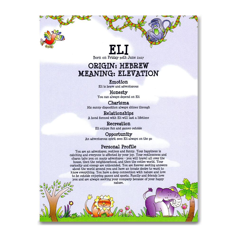 PERSONALISED NAME MEANING PRINT Baby Boy Christening