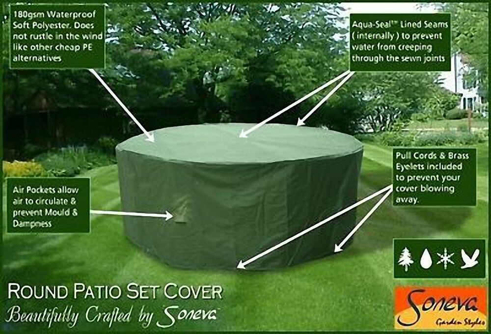 Round Heavy Duty Polyester Garden Patio set Table & Chairs cover Various