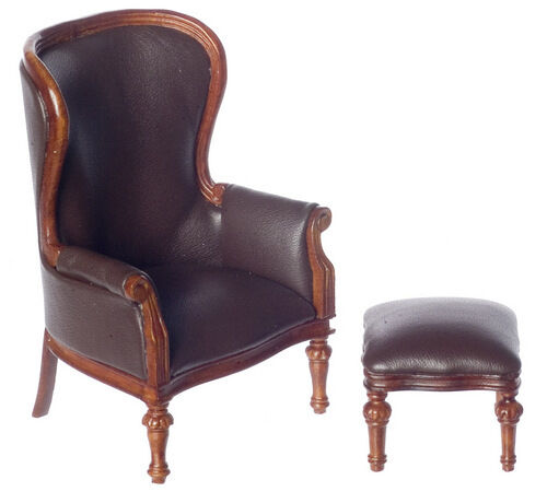 Dollhouse Miniature Victorian Rococo Wing Chair With