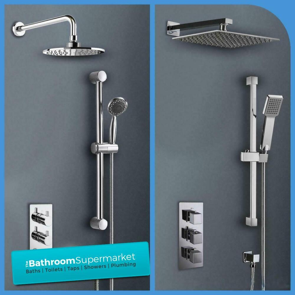 Bathroom Concealed Thermostatic Square Round Shower Valve