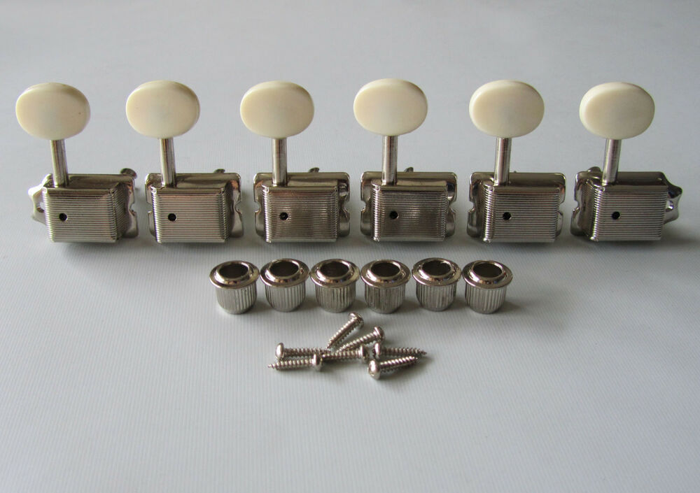 6 inline strat tele nickel w aged white vintage guitar tuners tuning keys pegs ebay. Black Bedroom Furniture Sets. Home Design Ideas