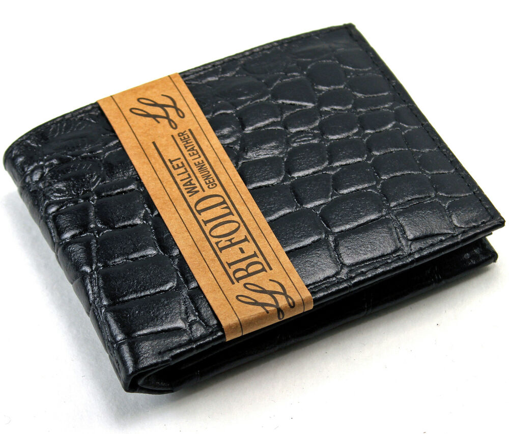 Mens Bifold Genuine Leather Wallet Alligator Crocodile