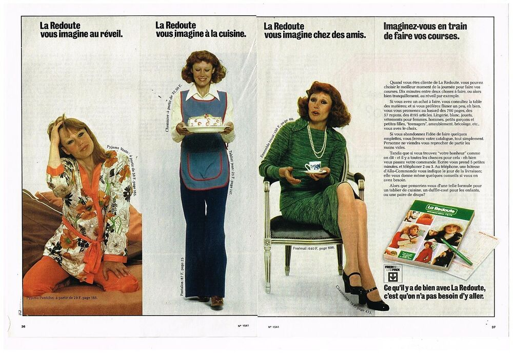 publicit advertising 1974 2 pages le catalogue la redoute ebay. Black Bedroom Furniture Sets. Home Design Ideas
