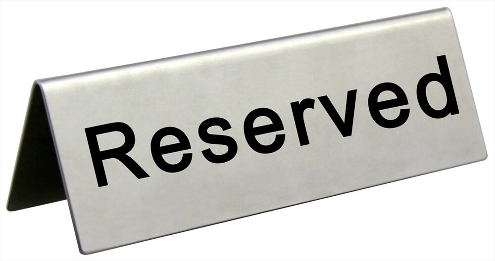 Reserved Table Sign Stainless Steel Restaurant Wedding  : s l1000 from www.ebay.com size 1000 x 528 jpeg 37kB