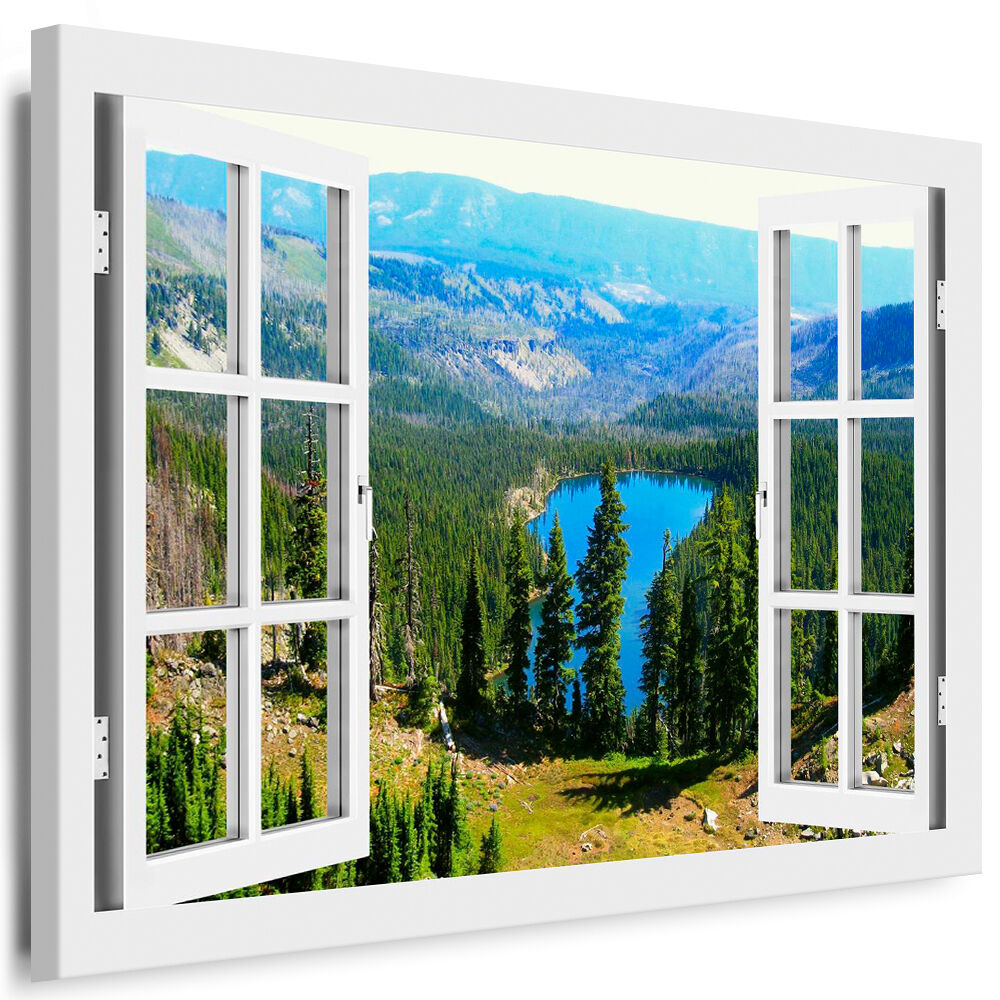 leinwand bild fensterblick 59 bilder see berge wald kunstdrucke kein poster ebay. Black Bedroom Furniture Sets. Home Design Ideas
