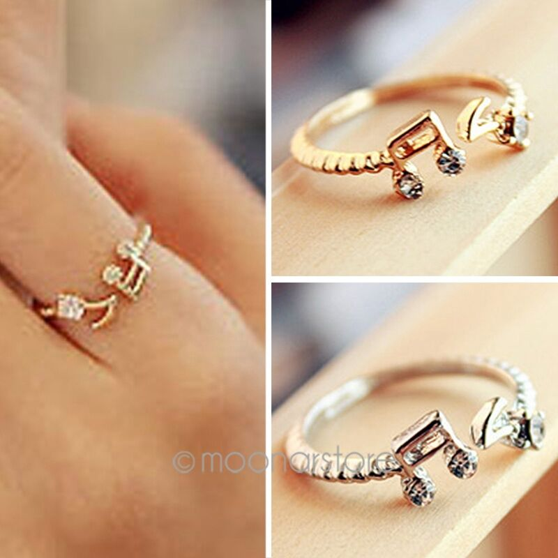 Music Note Design Delicate Retro Antique Vintage Adjustable Flower Finger Ring Ebay