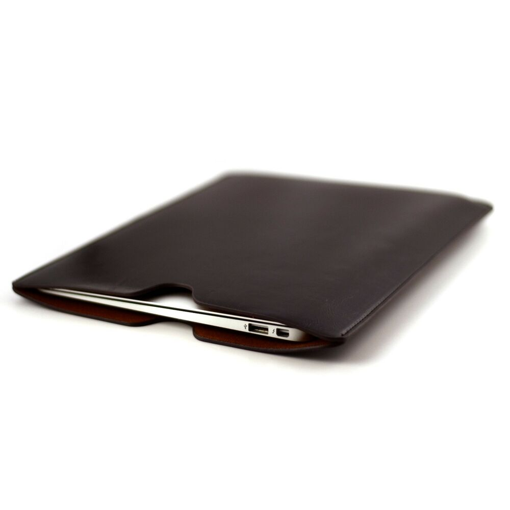 Dark Brown Leather Executive Sleeve Cover for Apple MacBook Air 11 and 13 inch   eBay
