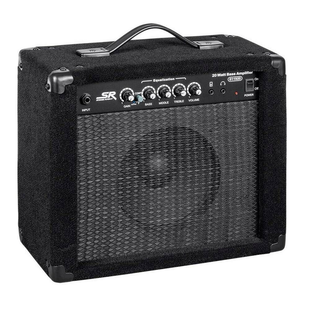 20w bass guitar amplifier combo amp 1x8 black ebay. Black Bedroom Furniture Sets. Home Design Ideas