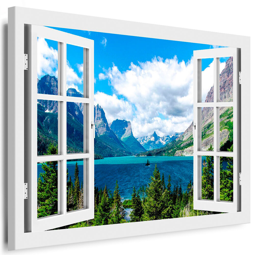 leinwand bild fenster n76 bilder natur wald berge see kunstdrucke kein poster ebay. Black Bedroom Furniture Sets. Home Design Ideas