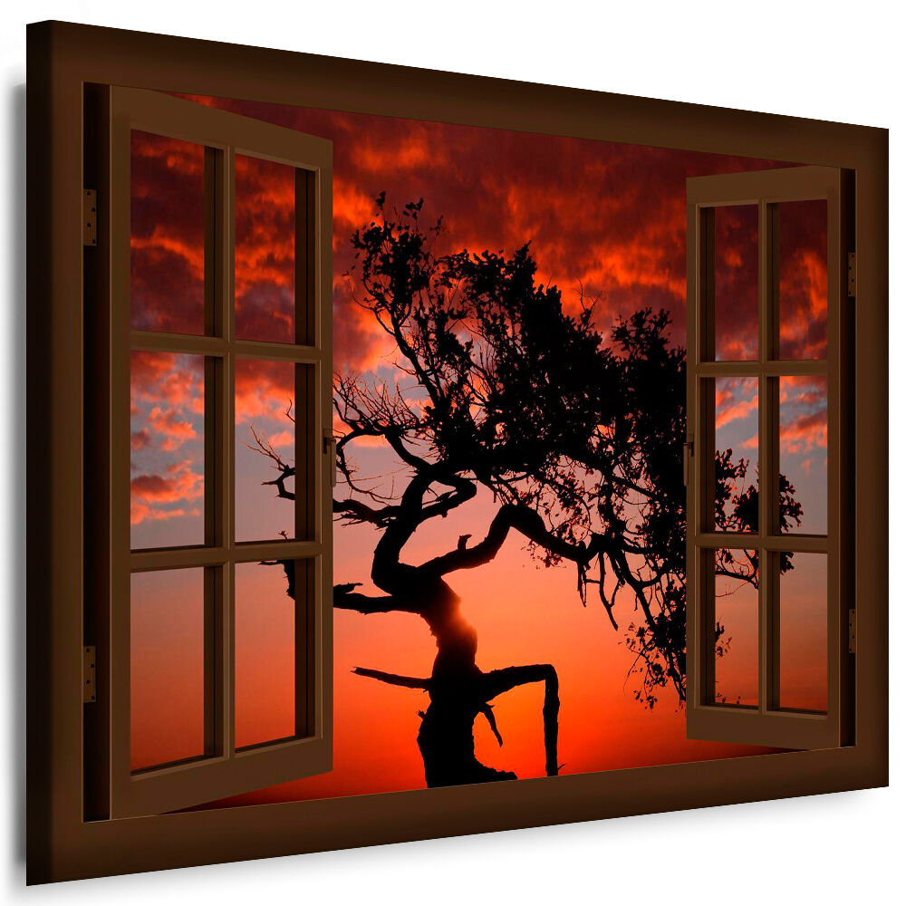 bild leinwand fenster bilder sonnenuntergang baum kunstdrucke kein poster ebay. Black Bedroom Furniture Sets. Home Design Ideas