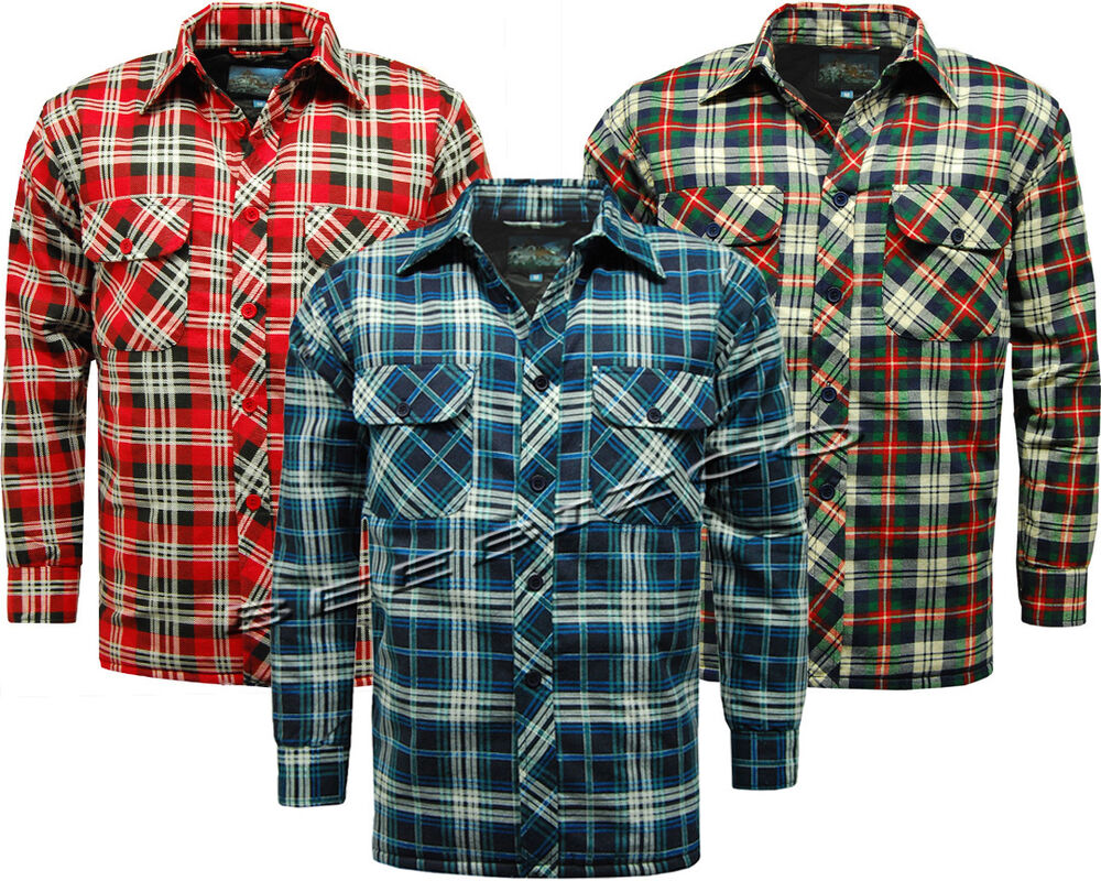 New mens warm padded quilted thick lumberjack check work for Mens padded lumberjack shirt