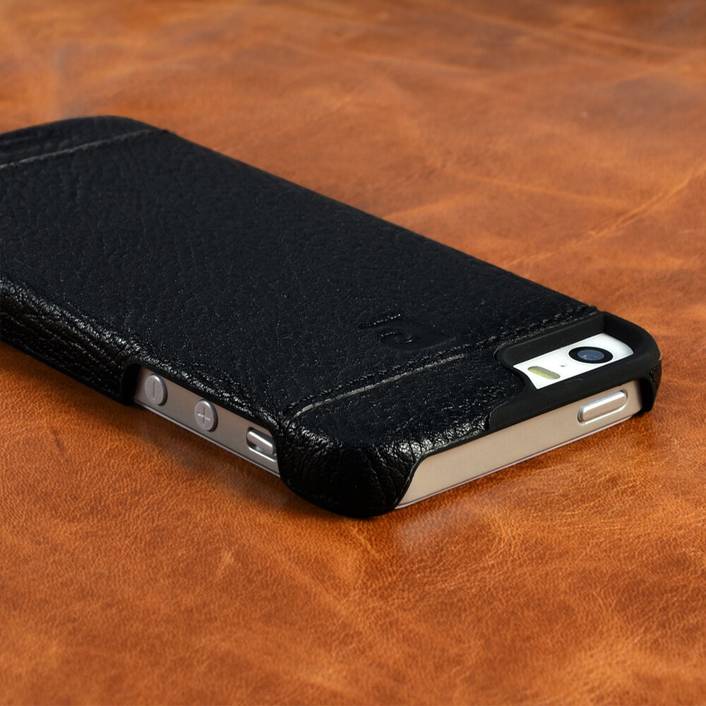 apple iphone 5s case cardin black genuine leather cover back 4902