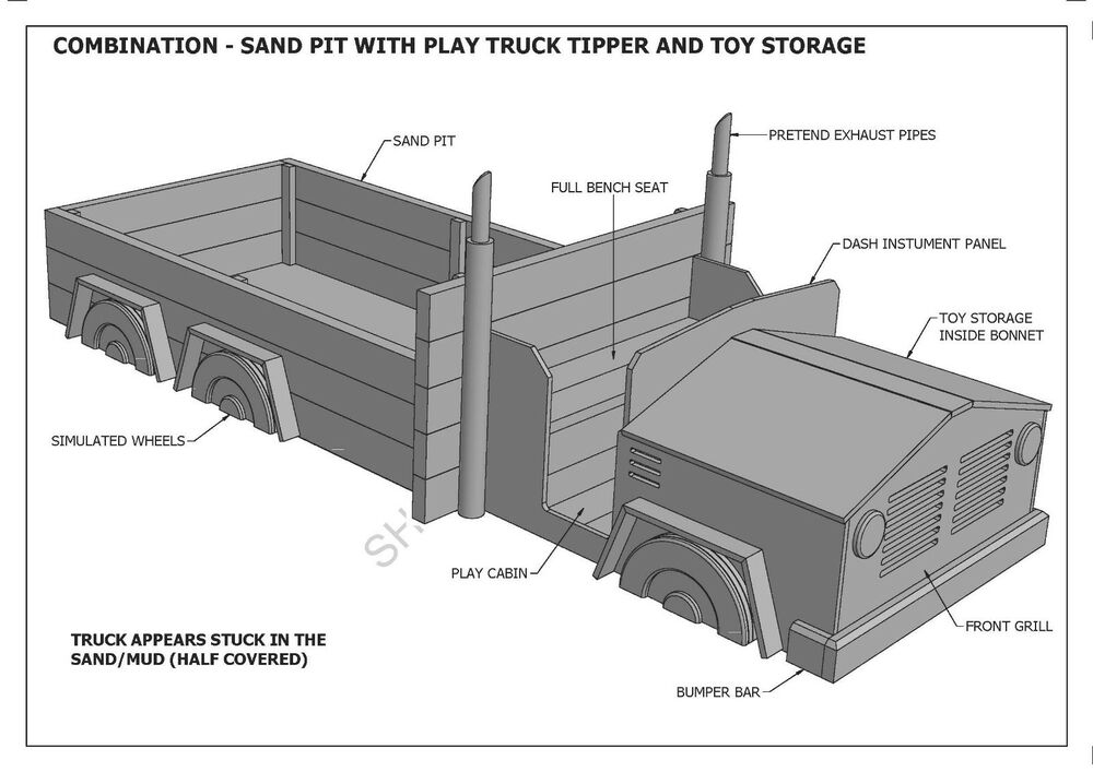 Building Plans For Toy Trucks : Truck sand pit toy storage combo cubby house