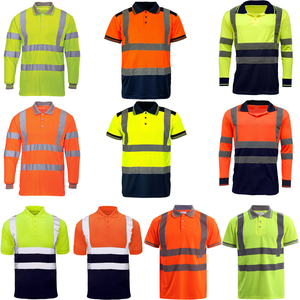 Men high visibility polo t shirts hi viz vis reflective for Hi vis shirts with reflective tape