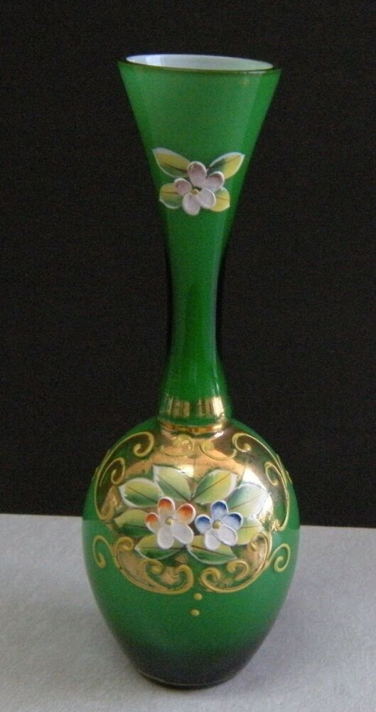 Beautiful Emerald Green Vase W Gold Accent Hand Painted