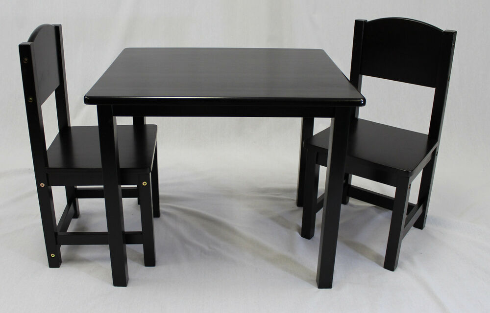Kids Table And Panel Back Chair Set 3 Pcs Solid Hard