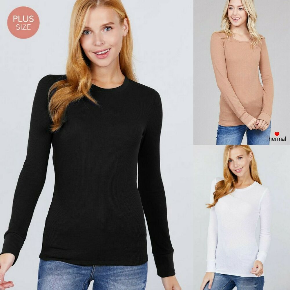 a49f0386c7db5 1X 2X 3X Plus Size Women CREW NECK Long Sleeve THERMAL Waffle Knit Top  T7099-L