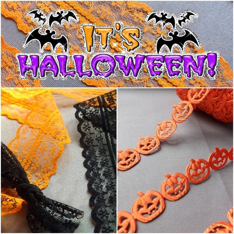 Halloween vintage lace garland decoration trim cards Vintage halloween decorations uk