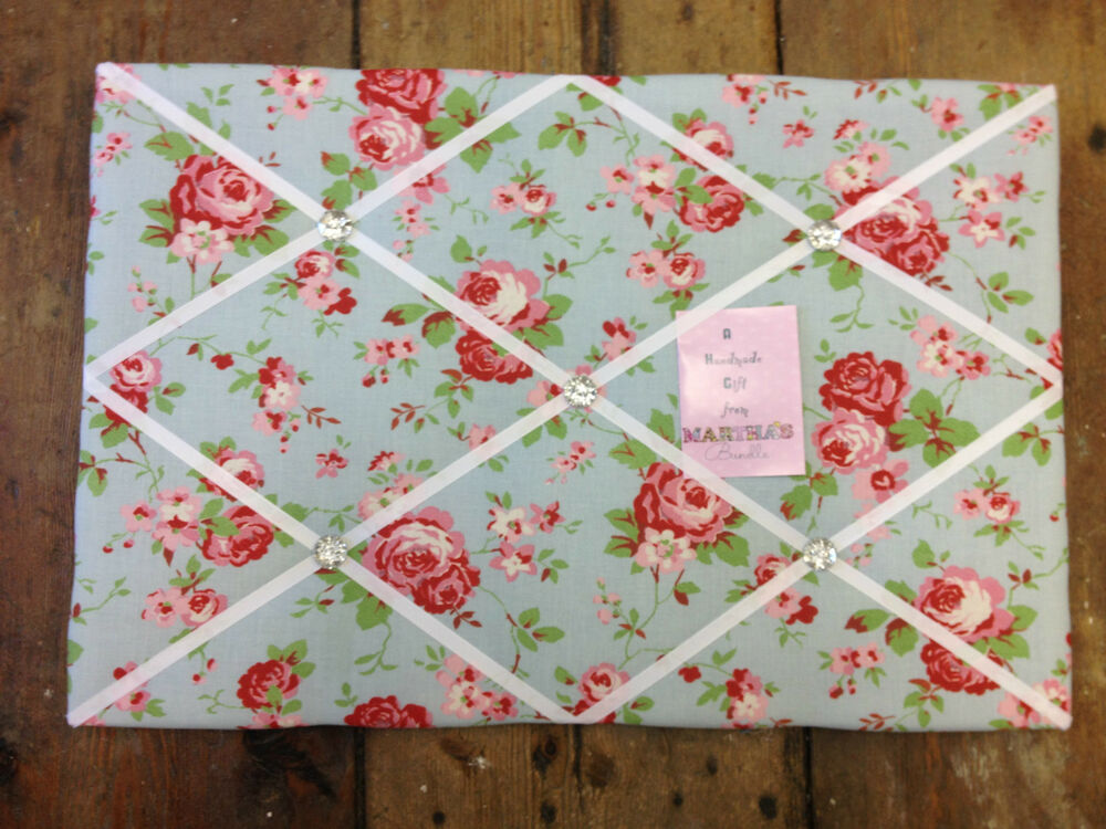 lg cath kidston ikea rosali fabric pin memo notice board 60x40cm xmas gift chic ebay. Black Bedroom Furniture Sets. Home Design Ideas