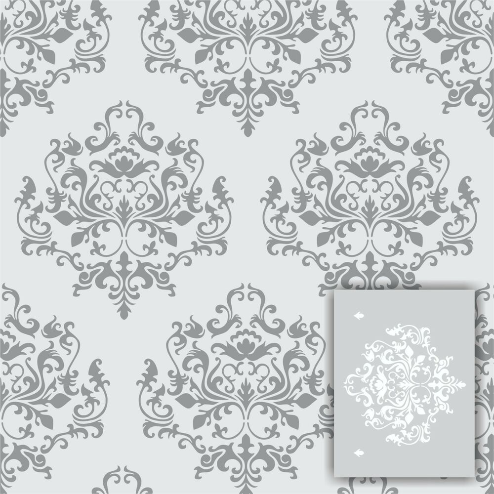 swirlypop designs damask1 wall stencil large 12 39 x9. Black Bedroom Furniture Sets. Home Design Ideas