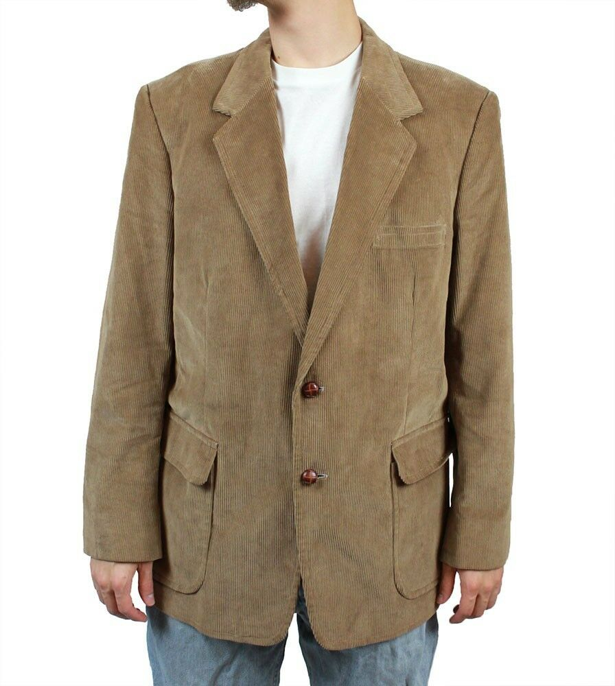 Vintage Corduroy Blazer 44R Light Brown Tan Jacket