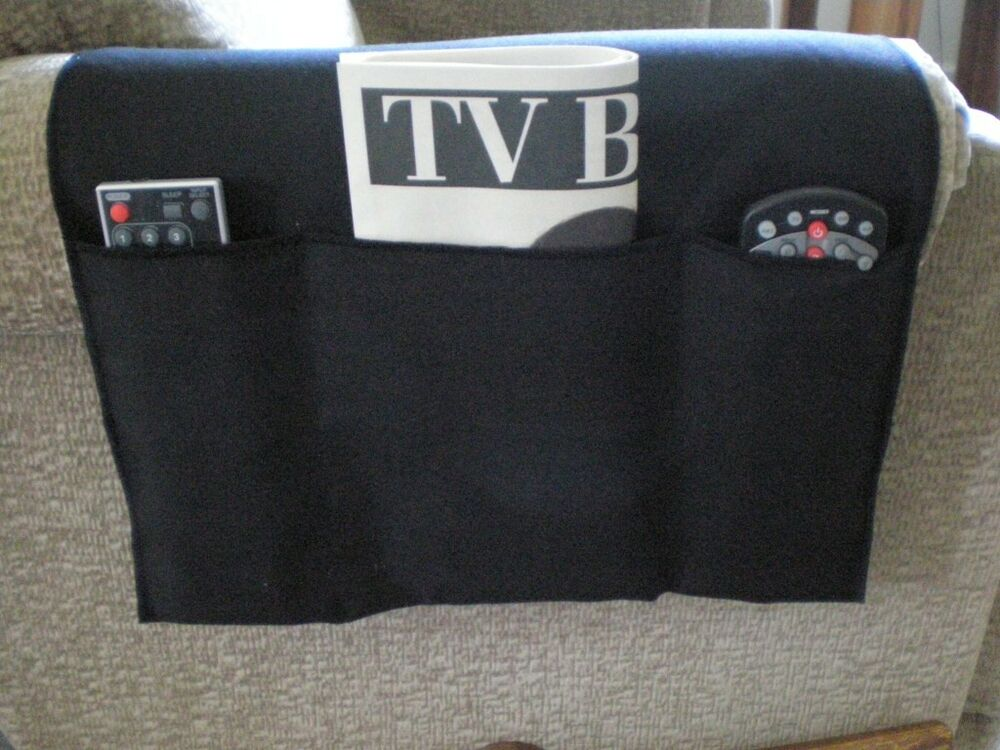 chair cozee tv remote control organizer caddy black ebay. Black Bedroom Furniture Sets. Home Design Ideas