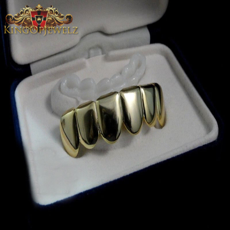 Gold finish sterling silver tarnish free plain top grillz ebay