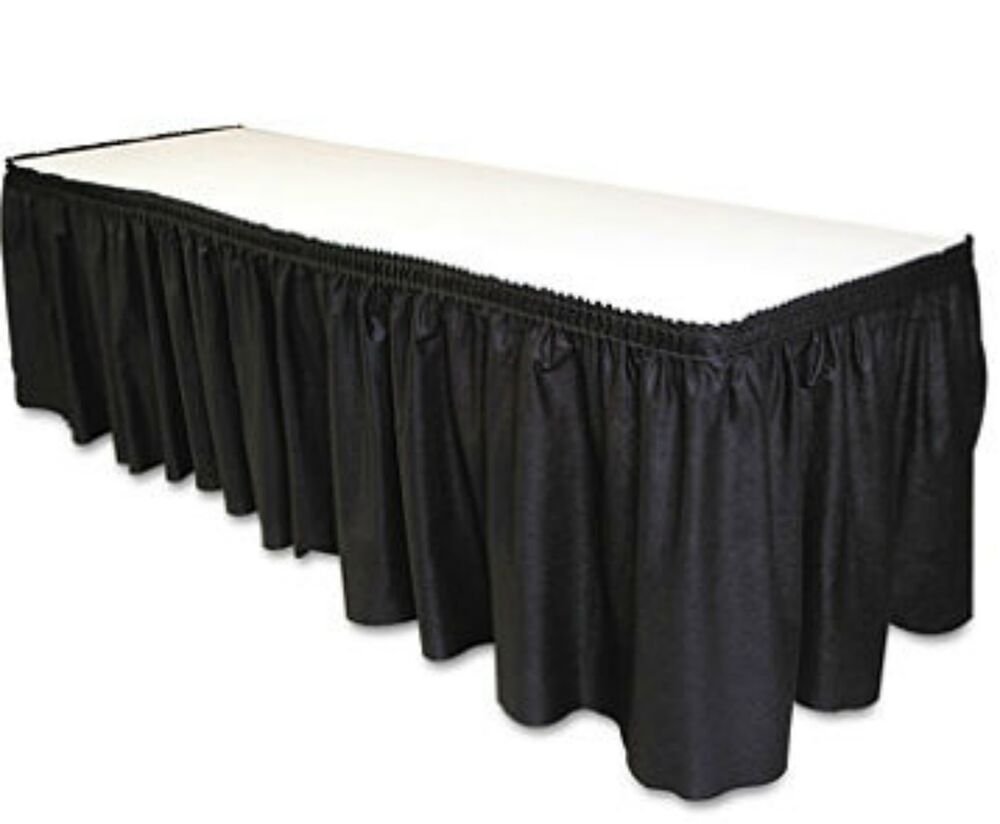 Black Table Set Skirting 29 Quot X 14 Fabric Ebay